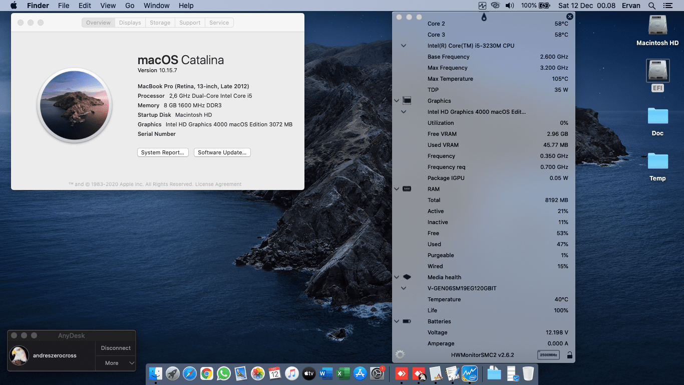 Success Hackintosh macOS Catalina 10.15.7 Build 19H2 in HP Pavillion G4-2308TX